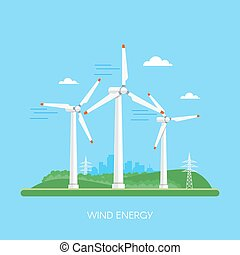 Wind power plant and factory. Turbines. Green energy industrial concept. Vector illustration in flat style. Electricity station background.