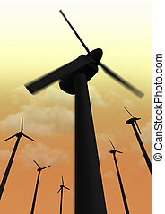 Wind power plant closeup nighttime
