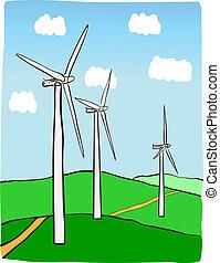 Hand-drawn illustration of windmill power plant. Windturbines power production.