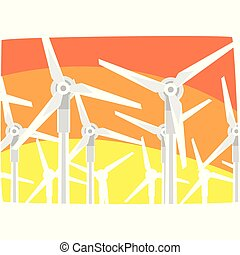 Wind power station against the evening sky, ecological energy producing station, renewable resources horizontal vector illustration