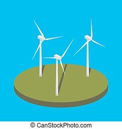 Wind power station isometric vector illustration