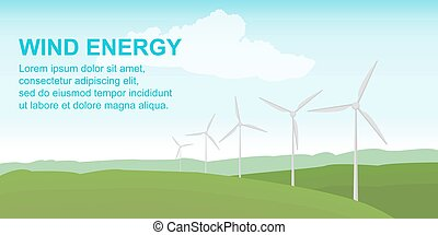 Wind power station on the green field. Alternative safe energy sources. Vector illustration in flat style.