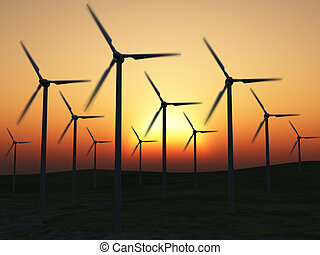 Wind power stations. On a background picturesque sunset