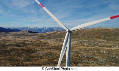 Aerial view on Wind Power, Turbine, Windmill, Energy...
