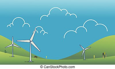 Wind power turbine on hill with sky Vector illustration. Green energy concept. Modern cartoon Nature landscape with wind turbine design. Ecology environmental background.