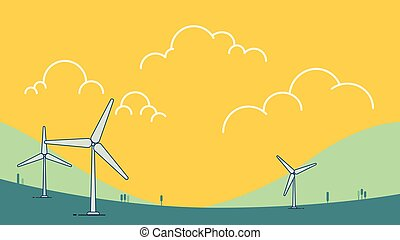 Wind power turbine on hill with sky Vector illustration. Green energy concept. Modern Nature landscape with wind turbine design. Ecology environmental background.