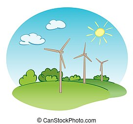 wind power turbines and nature