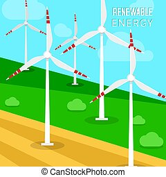 Wind power turbines and windmills vector illustration. A landscape with greenfields and turbines that transforms the kinetic energy in the wind into mechanical power