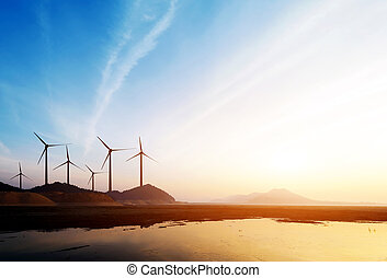 Wind power turbines - Stretch as far as eye can see the ...