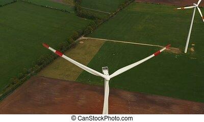 Wind power turbines - Sustainable, renewable energy concept....