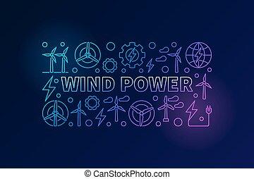 Wind power vector banner