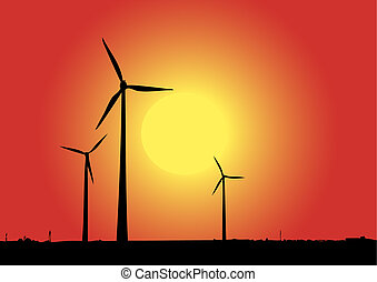 Wind power in red.