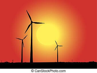 Wind Power - Wind power in red.