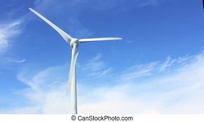 Wind power with blue sky background