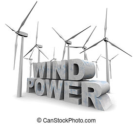 Wind Power Words - Alternative Energy - The words Wind Power...