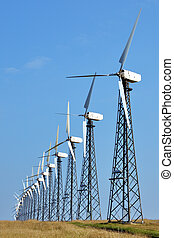 Wind-powered generators in the steppes of Azov