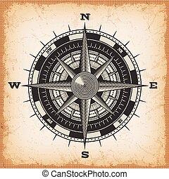 wind, roos, ouderwetse , achtergrond, kompas