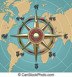 wind, roos, retro, illustratie, kompas