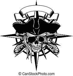 Wind rose and pirate