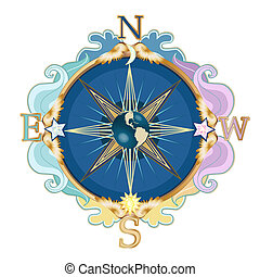 Beautiful styled wind rose, symbol of travels.