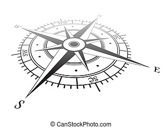Wind rose - Black wind rose isolated on white