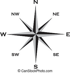 Wind Rose Cardinal Points Star grai and black Big EPS File