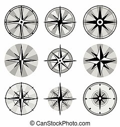 wind rose collection of monochrome icons