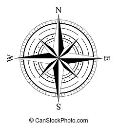 Black wind rose compass isolated on white. Compass Icon Graphic. Nautical design elements. Compass Rose. Wind rose. Vector Illustration.