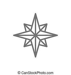 Wind rose, compass, navigation line icon.