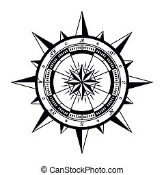 Wind rose compass - Vintage nautical compass rose. Vector...