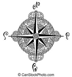 Wind rose in mandala style. Nautical compass icon isolated on white background. Asian pattern. Vector illustration.