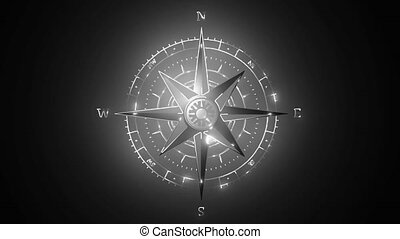 Wind rose sign. Dark icon with shadow on the glowing circle button. video