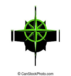 Wind rose sign. Vector. Green 3d icon with black side