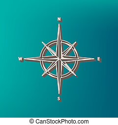 Wind rose sign. Vector. Icon printed at 3d on sea color background.