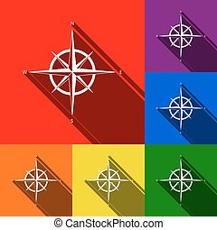 Wind rose sign. Vector. Set of icons with flat shadows at red, orange, yellow, green, blue and violet background.