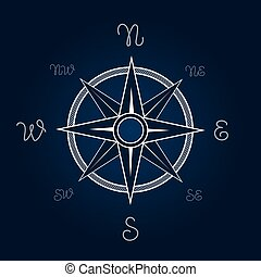 Wind rose vector illustration. Polaris coordination compass poster with rope knot signs