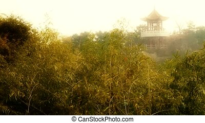 wind shaking bamboo,Pavilion on hill in distance,Hazy Style.