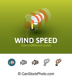 Wind speed icon in different style
