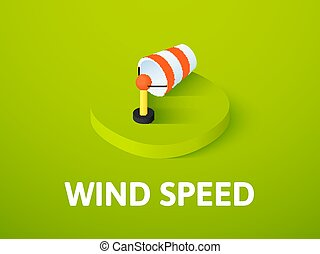Wind speed isometric icon, isolated on color background