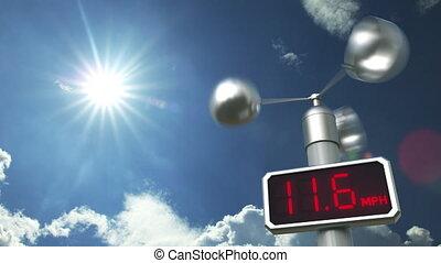 Wind speed measuring anemometer 3D