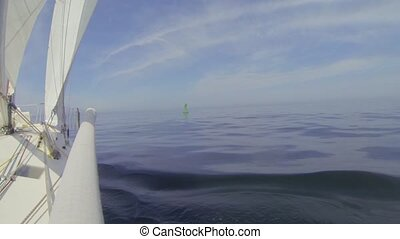 Wind still with strong currents - Sailing boat drifts past a...