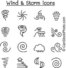 Wind & storm icon set in thin line style