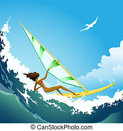 Wind surfer girl on the wave
