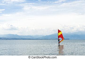 surfer on lake