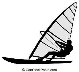 Wind surfing - Abstract vector illustration of wind surfing ...