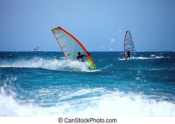 Wind surfing in the summer