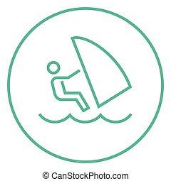 Wind surfing line icon.