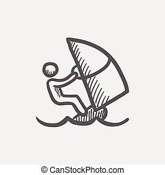 Wind surfing sketch icon