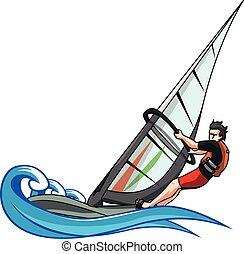 Wind surfing vector illustration