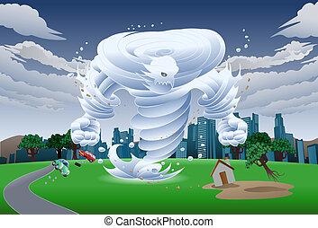 wind tornado monster illustration - illustration of a wind...